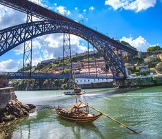 Picture of Oporto or Porto city skyline, Douro river, traditional boats and Dom Luis or Luiz iron bridge Portugal, Europe stock photo, images and stock photography. Visit Portugal, Portugal Travel, Douro Portugal, Portugal Trip, Porto City, Destinations, Europe Holidays, Photos Du, Free Photos