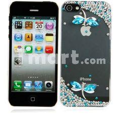 Dragonflies Style Rhinestone Transparent Hard Back Case for iPhone 5 Azure,$4.88
