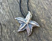 STARFISH PENDANT, sterling silver cast into carved cuttlefish bone, lovely natural texture. Each piece is unique!