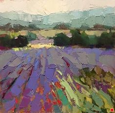 Provence in July by Trisha Adams Oil ~ 12 x 12 Impressionist Landscape, Abstract Landscape Painting, Impressionist Paintings, Landscape Art, Landscape Paintings, Landscape Rocks, Landscape Edging, Landscape Wallpaper, Abstract Portrait