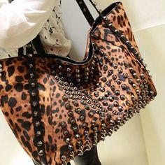 Studded Leopard Print Hand Bag