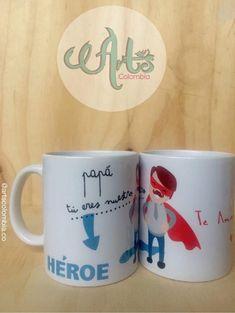 Papá eres nuestro Heroe. Personaliza tu mugs en cerámica con la foto, frase o nombre. Envios nacionales. Photo And Video, Mugs, Videos, Instagram, Art, Frases, Pictures, Art Background, Tumblers