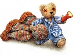 Jane Hissey : Hoot, Lovely Stuffed Animals - Little Old Bear - Heartwarming illustrations of Teddy Bear 12 My Teddy Bear, Bear Toy, Coloured Pencils, Children's Book Illustration, Book Illustrations, Everyday Objects, Baby Crafts, My Childhood, Friends