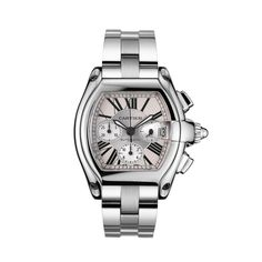 The Roadster watch is inspired by the world of 1950s car racing. The streamlined dial of the steel case is a trademark of the era, while the sword-shaped luminescent hands, Roman numerals and sapphire crystal are signature Cartier features. Adorned with a white or pink satin-finish dial, the Roadster will equally delight any male or female.  For VIP pricing call Ryan 888.4324367  Roadster watch, extra large modelAutomatic, steel, chronograph  REF:W62019X6
