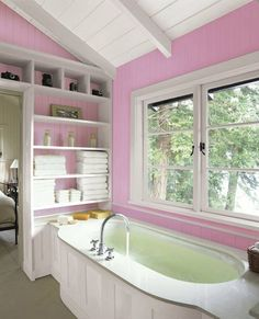 Painted paneling adds a feminine touch to a simple yet spa-like bath retreat. | Easter Egg Purple F8-3, @dutchboypaint
