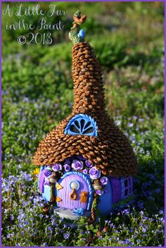 Fairy Cottage - Whimsical OOAK Fairy Abode - Gourd, Polymer Clay, Pinecone Roof via Etsy Mini Fairy Garden, Fairy Garden Houses, Fairy Gardens, Fairies Garden, Gnome Garden, Forest Fairy, Fairy Land, Fairy Shoes, Fairy Village