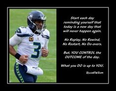 This Russell Wilson Inspirational Quote Poster is a wonderful Football related gift. It is an inspiring, lasting gift for any football player. It will certainly encourage and motivate. Details High-quality photographic print Printed on heavyweight satin photo paper Ready to frame Great gift idea Made in the U.S.A. Available in 3 sizes Your choice of two style options Buy with confidence. I stand behind everything I sell. If you are not satisfied, please contact me, so I can resolve your unmet e Football Motivation, Today Is A New Day, Russell Wilson, Visual Aids, Photo Quotes, Quote Posters, Stand By Me, Football Players, Helping People