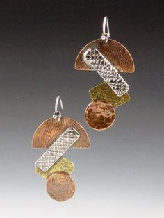 Mixed Metal Shapes Earrings, copper, brass, silver, 1 1/2 inches $50.00 by MicheleGradyDesigns