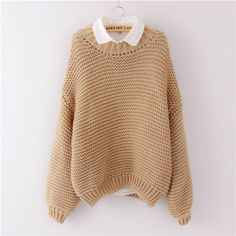 Women Korean Sweater Thick Coarse Wool Knitted Lantern Sleeve Tops Fashion Casual For Spring Autumn Winter Knitted Pullover Oh Yeah Visit us Korean Fashion Trends, Korean Street Fashion, Korea Fashion, Japan Fashion, Look Fashion, New Fashion, Winter Fashion, Fashion Outfits, Fashion Ideas