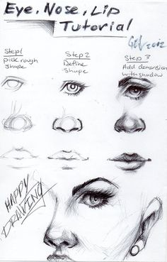 Eye, nose and lip tutorial by blucinema.deviantart.com on @deviantART