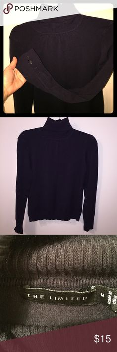 The limited black turtleneck The limited black turtleneck. This has been a gently worn turtleneck in excellent condition without any rips or stains. Neckline has delicate ruching and each sleeve has delicate buttons to add to the feminine flare. True size Med. could fit a small loosely. 65% rayon & 35% nylon. Fabric does have stretch to it. Great turtleneck. No lowball offers on this as I may still keep since it's a great piece. My closets are just packed. Purchased new from the limited. The…