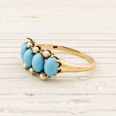 Victorian Gold Turquoise Pearl Ring | New York Vintage & Antique Estate Jewelry – Erstwhile Jewelry Co NY