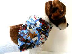 Reversible Dog BandanaBlue with Dogs Design by ELMEDO on Etsy, $9.00