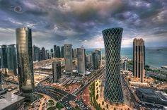 Sun and Rain  1 time #Doha #Qatar architecture #Towers