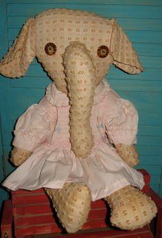 Primitive Folk Art OOAK Chenille Elephant by tagalongstreasures, $30.00