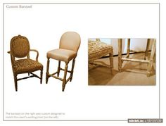 Custom Work - The barstool on the right was custom designed to coordinate with the client's existing chair (on the left)