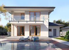 Projekt domu Karat 2 162,51 m² - koszt budowy - EXTRADOM 2 Storey House Design, Mediterranean Style Homes, Facade House, Home Design Plans, Coastal Living, Home Fashion, Architecture Design, Mansions, House Styles