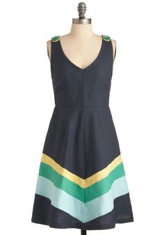 xl, $50 Beauty by the Bay Dress by Knitted Dove - Mid-length, Casual, Blue, Yellow, Green, Stripes, Buttons, A-line, Tank top (2 thick straps)