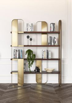 Freestanding steel and wood bookcase GISELLE By Capital Collection design BOATTO. Steel Furniture, Modern Furniture, Furniture Design, Cheap Furniture, Shelving Design, Shelf Design, Interior Design Living Room, Living Room Designs, Chevron Floor