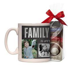 Family Mug, White, with Ghirardelli Premium Hot Cocoa, 11 oz, Grey