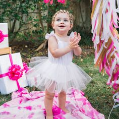 Cute, stylish and one-of-a-kind handmade kids clothes. Pink & white striped romper with tulle tutu skirt. Pink First Birthday, First Birthday Outfits, Disney Baby Clothes, Cute Baby Clothes, Pink Tutu, Tulle Tutu, Pink And Gold, Pink White, Pale Pink