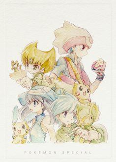 Emerald, Ruby, Sapphire and Wally pokespe Pokemon Manga, Cute Pokemon, Anime Manga, Pokemon Stuff, Pokemon Games, Sapphire Pokemon, Pokemon Emerald, Ruby Sapphire, Pokemon Rouge