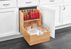 Base Cabinet Pullout Food Storage Container Organizer Sink & Base Accessories-- Rev-A-Shelf 4FSCO-18SC-1