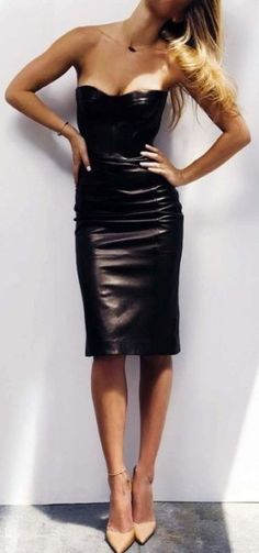 leather bodycon + nude heels