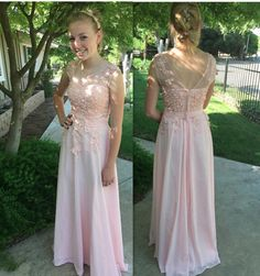 The Charming Pink Appliques Prom Dresses, Floor-Length Evening Dresses, Prom Dresses, Real Made Prom Dresses On Sale,
