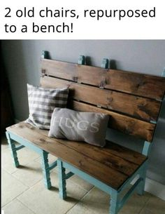 2 chairs and a pallet repurposed into a bench