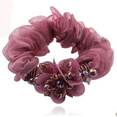 2pcs/lot Free Shipping Fashion Crystal Flower Chiffon Hair Scrunchies, Ponytail Hair Band. Woman Girls hair accessories $8.16