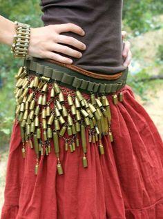 Brass Bullet Dance-Gypsy Belt - Vintage 50cal Military Dance Belt. $125.00, via Etsy.