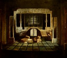 """The little foxes"" by Lillian Hellman -Skampa Theatre Elbasan 1988.Scenic design by Fatbardh Marku"