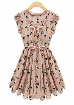 Pink Elk Print Pleated Belt V-neck Chiffon Dress