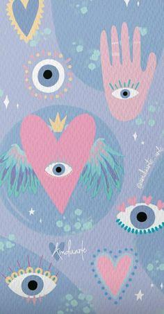 Eyes Wallpaper, Iphone Background Wallpaper, Tumblr Wallpaper, Aesthetic Iphone Wallpaper, Aesthetic Wallpapers, Cute Patterns Wallpaper, Background Patterns, Evil Eye Art, Hippie Wallpaper