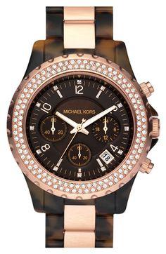 Michael Kors 'Madison' Watch in Tortoise/Rose Gold
