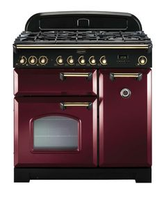 Rangemaster Classic Deluxe 90 Dual Fuel Cranberry/Brass Range Cooker 84490