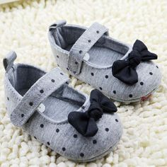 Baby Girl Shoes Toddler Girl Polka Dot Bowknot Crib Shoes Soft Sole Comfort Baby Shoes Prewalker
