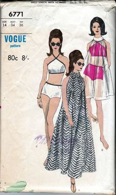 FAB 60s Tent Dress and Swimsuit Pattern Vogue 6771 Boyleg Bikini Maxi Muu Muu…
