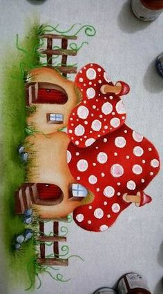 Resultado de imagem para cogumelos de tecido pinterest Baby Painting, Tole Painting, Fabric Painting, Art Drawings For Kids, Drawing For Kids, Diy And Crafts, Arts And Crafts, Paper Crafts, Decoupage