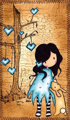 Playing with a new Gorjuss stamp, and new Promarkers. Background is distress inked using Frayed Burlap. The tree and the hearts stamp ar. Art And Illustration, Illustrations, Whimsical Art, Tag Art, Medium Art, Mixed Media Art, Cute Drawings, Cute Art, Painted Rocks