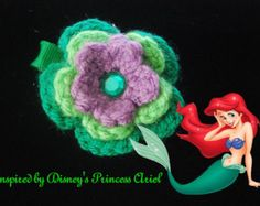 Disney's Princess Ariel Inspired Crochet Flower Hair Clip