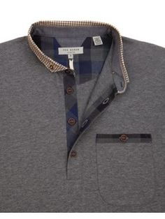 Ted Baker Geodog Woven collar polo Grey Marl - House of Fraser