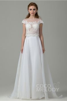 Romantic Sheath-Column Illusion Natural Train Organza Ivory Cap Sleeve Zipper With Button Wedding Dress with Appliques CWWF15001