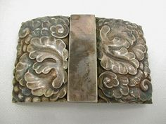 GEORG JENSEN Old GI Sterling Rare OAKLEAF BUCKLE Danish