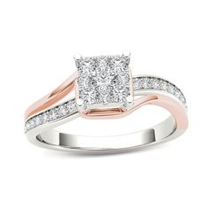 1/2 CT. T.W. Diamond Square Composite Bypass Engagement Ring in 14K Two-Tone Gold