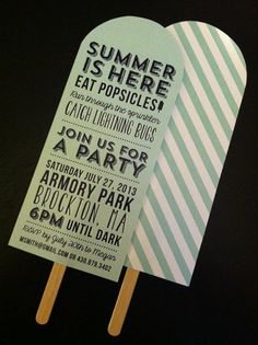 Set of 25  Popsicle Summer Party Invitation / by CityBeeDesign, $75.00