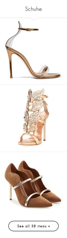 """Schuhe"" by nanni33 ❤ liked on Polyvore featuring shoes, sandals, heels, heeled sandals, strappy sandals, clear sandals, high heel stilettos, strap sandals, rose gold and caged heel sandals"