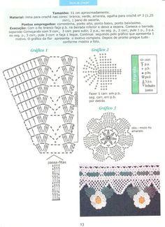 Eu Amo Artesanato: Barrados coruja-cupcake-frutas-flores em crochê com gráfico