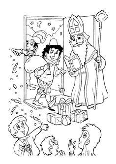 Coloriage de Saint Nicolas et ses amis offrant des bonbons et des cadeaux